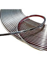 Aerzetix: 6 mm, 15 meter lijm trim strip, kleur: chroom, nikkel, zilver