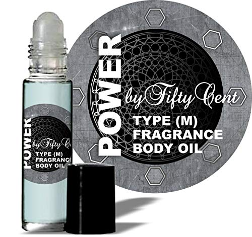 Power by Fifty (50) Cent Type for Men (M) Fragrance Body Oil 1/3 oz roll on Glass Bottle -