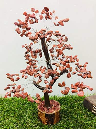 Zaicus Red Jasper Crystal Tree Reiki Healing Stone Feng Shui Bonsai Money Tree Good Luck Energy Generator Reiki Healing Chakra with Crystal Point Gemstone Size 10-12 Inch Approx (Silver - Jasper 10 Inch