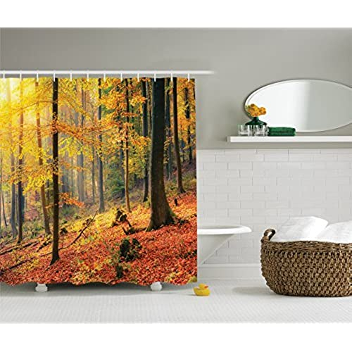 Ambesonne Farm House Decor Collection, Colorful Autumn Forest Sunbeams  Golden Leaves Trees Seasonal Scenics Print, Polyester Fabric Bathroom  Shower Curtain, ...