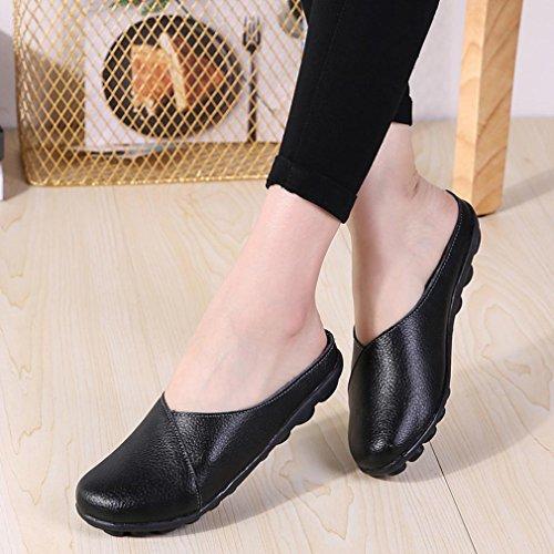 Sikye Vrouwen Instapper Platte Schoen, Pure Kleur Zachte Onder Schoenen Casual Bootschoenen Platte Schoenen Ronde Neus Zwart