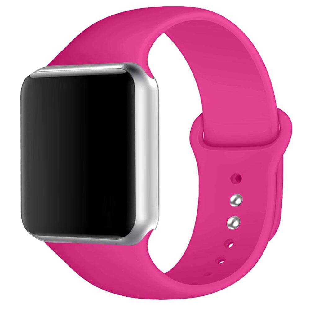Winso Sport Band Compatible with Apple Watch 38mm 40mm 42mm 44mm S/M M/L, Soft Silicone Strap Replacement for Smart iWatch Bands Series 4/3/2/1 Barbie Pink 38(40) mm S/M