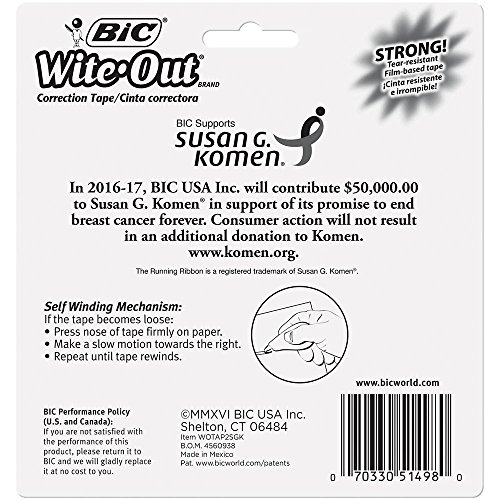 BIC Wite-Out Brand EZ Correct Correction Tape Supporting Susan G. Komen, 2-Count by BIC (Image #3)