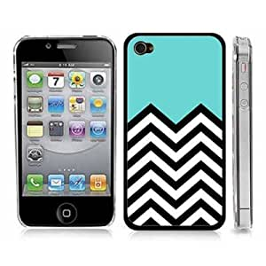 Turquoise Chevron Zig Zag Snap-On Cover Clear Hard Carrying Case for iPhone 4/4S