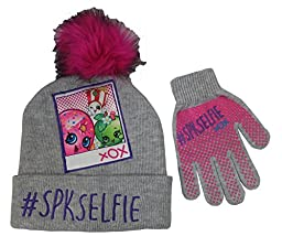 Shopkins Girls Grey #Spkdelfie Beanie Hat and Gloves Set [4013]