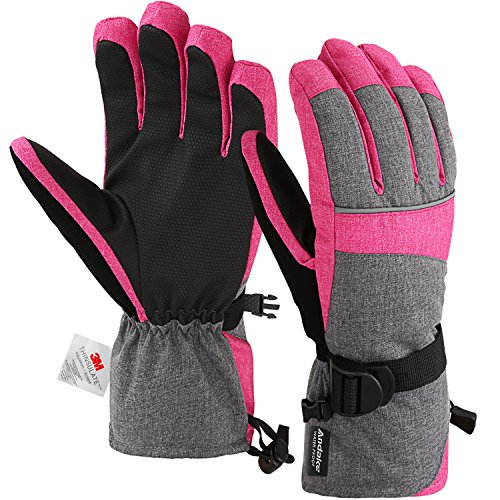 - Andake Ski Gloves, Waterproof 3M Thinsulate TPU Membrane Women's Winter Gloves with Non-Slip PU Palms for Skiing, Snowboarding, Riding, Climbing and Skating