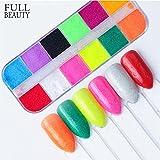 POYING Full Beauty Pure 12 Color Sandy Sugar Nail Glitter Powder Dust Summer DIY Mermaid Pigment Nail Art Decorations Manicure CHST