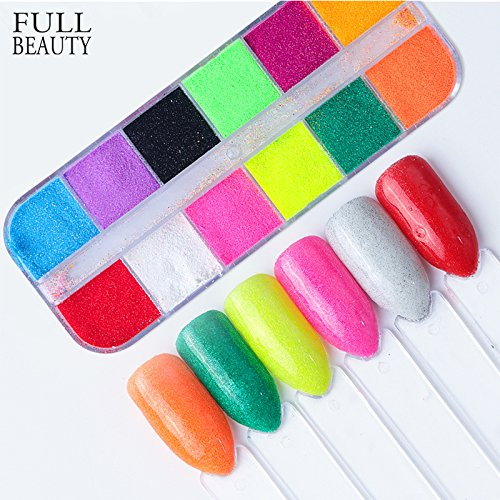 POYING Full Beauty Pure 12 Color Sandy Sugar Nail Glitter Powder Dust Summer DIY Mermaid Pigment Nail Art Decorations Manicure CHST by POYING