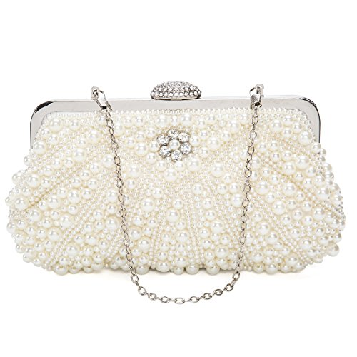 Evening Beaded Womens Luxury Crystals Pearl Clutch Pearl Special Bags White Kisschic wgqIA0q