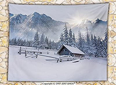 Apartment Decor Fleece Throw Blanket Old Farm House by the Mountain in the Winter Season Cold Times in Rural Nature Scene Photo Throw White