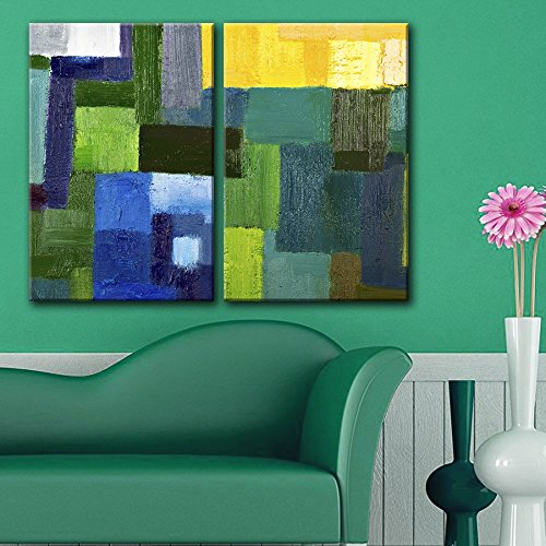 2 Panel Abstract Colorful Squares Color Composition x 2 Panels