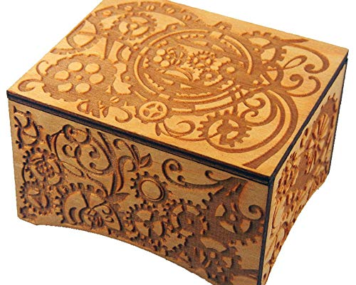 TheLaser'sEdge, Personalizable Steampunk Windup Music Box, Laser Engraved Wood (Standard, Can't Help Falling in Love)