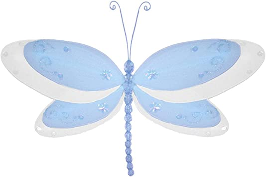 Small 5 Blue Multi-Layered Nylon Butterfly Hanging Mesh Butterflies Decorations Baby Nursery Bedroom Girl Room Ceiling Wall Decor Wedding Children Birthday Party Shower Playroom Arrangement Organza