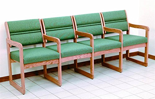 Sled Base Quad Reception Area Chairs in Solid Light Oak Frame w Upholstered Seats & Backs (Green Arch)