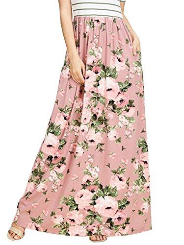 TECREW Womens Floral Print High Waist Full Length Boho Maxi Long Skirt with Pockets