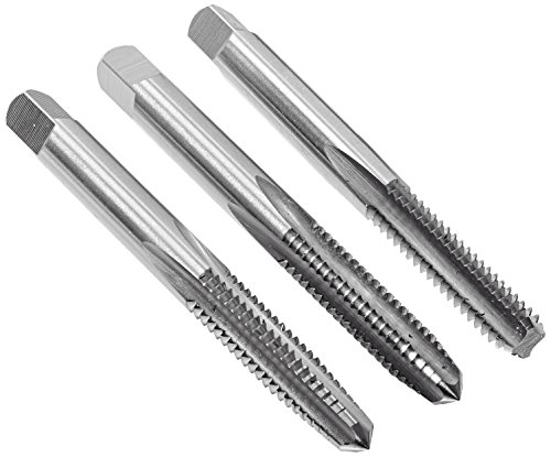 (Kodiak Cutting Tools KCT202717 USA Made 1/4-20 Hand Threading Tap Set, Includes Taper, Plug and Bottom Taps, Ground Threads, High Speed Steel, H3 Limit, 4 Flute, 1/4
