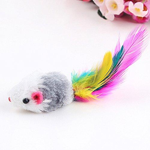 Paquete de 5 ratones de juguete para gatos, recubiertos con plumas y ...