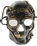RedSkyTrader Mens Gold and Black Robotic Skull Venetian Mask One Size Fits Most Gold