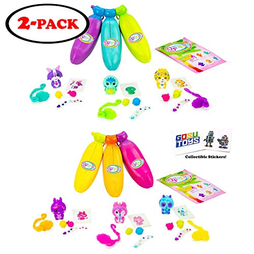 Bananas Collectible Toy 6-Pack Bunch (2 Bunches of 3 Scented by Cepia (Styles Inside Each May Vary) (Orange, Pink, Yellow, Blue, Green, Purple) (Of Bananas Bunch)