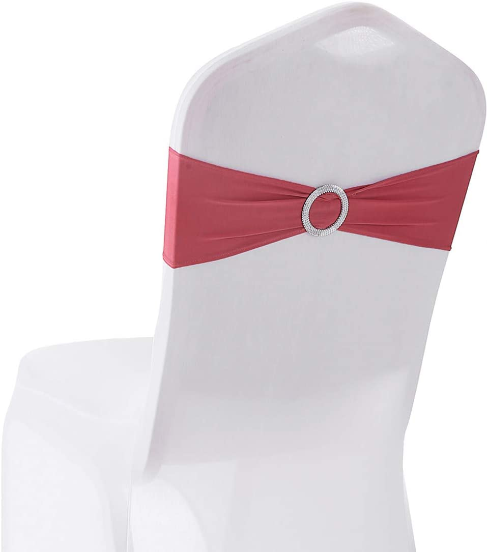 20PCS Spandex Chair Sashes | Chair Bands with Buckle Slider | for Wedding, Hotel, Banquet, Party Decorations | Without White Covers(Pink): Kitchen & Dining