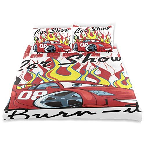 CANCAKA Drift Duvet Cover Set Drift Car Show Cartoon Design Bedding Decoration Queen/Full Size 3 PC Sets 1 Duvets Covers with 2 Pillowcase Microfiber Bedding Set Bedroom Decor Accessories