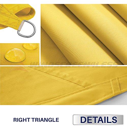 Windscreen4less Terylene Waterproof Sun Shade Sail UV Blocker Triangle Sunshade Patio Canopy Sail 17 x 20 x 26.2 in Color Yellow Included Free Pad Eyes – Customized Sizes