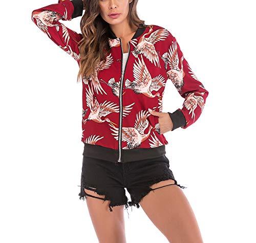 Outerwear Coat Lunga Manica Tops Giacche Casual Fräulein Giacca Stampa Primavera Moda Blouse Jacket Baseball Rosso2 Bomber Donna E Autunno Corto Fox HAHqwza