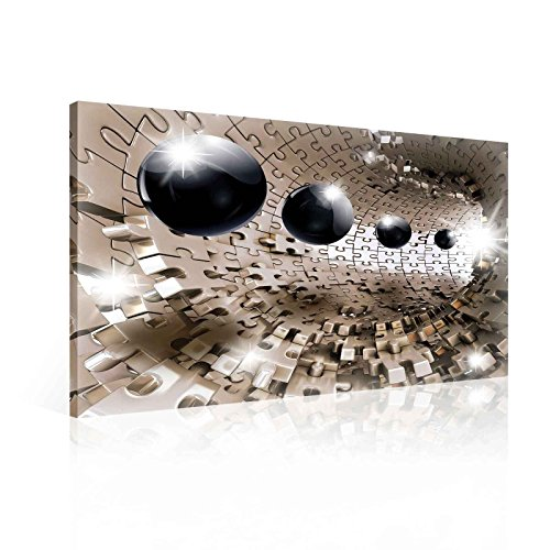 Ready to Hang Canvas Wall Art - 3D Optical Illusion Balls Spheres in Jigsaw Tunnel - L - 31.5