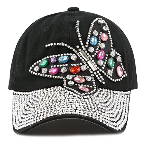 The Hat Depot Women's Butterfly Rhinestone with Bling Studed Cap (black) (Hat Baseball Black Rhinestone)