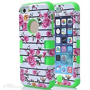 LIMME 3 in 1 Rose Flower Pattern Hard Soft Silicone Back Case Cover Fit For iPhone 5C(Assorted colours) , Rose