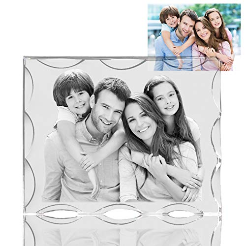 Qianruna 2D/3D Laser Crystal Photo Personalized Custom Beveled Crystal Glass Portrait Engraving Gifts,Best Gifts for Wedding and Anniversary (Small)