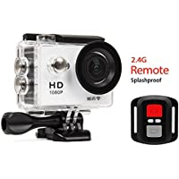 Action Sports Camera Sport DV Waterproof Wrist Remote - Full HD 1080P Wifi Sports Cam - Carrying Case - 2 inch Screen - Head Strap - 20 Accessories Included (White)