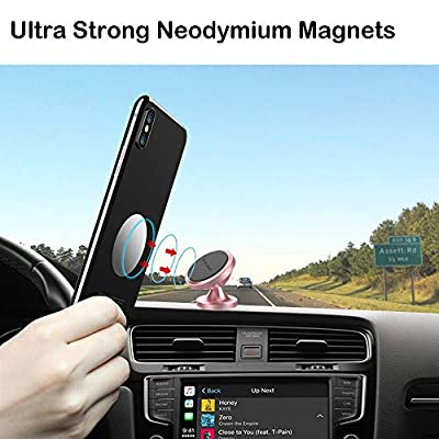Magnetic Phone Car Mount, Pikabo Universal Stick On Dashboard 360 Degree Rotation Magnetic Cell Phone Holder for iPhone 11 Pro Max Xs MAX X 8 7 6 Plus Samsung Huawei Xiaomi and Others. (Rose Gold)