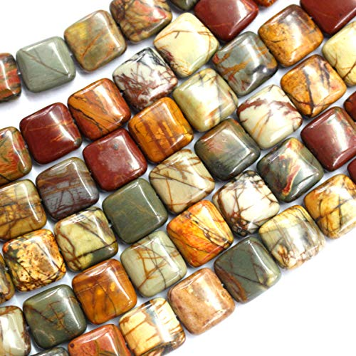 (Gorgeous Picasso Jasper Square 10mm Natural Gemstone Loose Beads Approxi 15.5 inch DIY Bracelet Necklace for Jewelry Making )