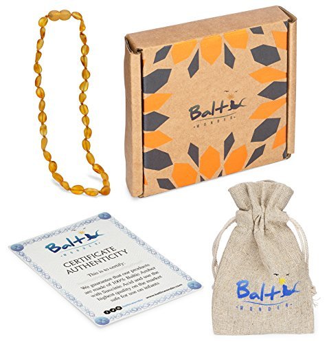 Raw Baltic Amber Teething Necklaces For Babies (Unisex) (Honey Olive) - Anti Flammatory, Drooling & Teething Pain Reduce Properties - Natural Certificated with the Highest Quality Guaranteed. by Baltic Wonder (Image #4)