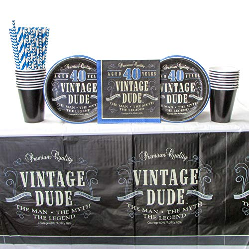 Vintage Dude 40th Birthday Party Supplies Pack for 16 Guests | Straws, 16 Dessert Plates, 16 Luncheon Napkins, 16 Cups, and 1 Tablecover |Fantastic 40th Birthday Party Decorations for Men -
