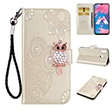 Amocase Wallet Case with Black 2 in 1 Stylus for Samsung Galaxy M30,3D Bling Gems Owl Magnetic Mandala Embossing Premium Strap PU Leather Card Slot Stand Flip Case for Samsung Galaxy M30 - Gold
