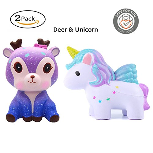 AComon Squishies Jumbo Slow Rising Toys Colored Unicorn Deer 2-pack Kawaii Cute Creamy Scent Party Stress Reliever Gifts Toy For Kids Adult by AComon