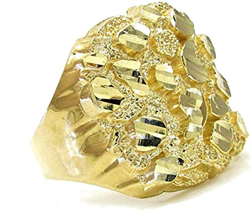 10K Gold Mens Nugget Ring Yellow Gold Classic Wide Pinky Fashion Ring for Guys 16mm Wide (13) (Ring Nugget Gold Yellow)