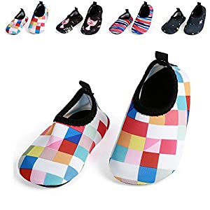 JIASUQI Baby Outdoor and Indoor Fashion Casual Water Skin Shoes Socks for Beach Sand Swim Surf,Plaid Pink 12-18 Months