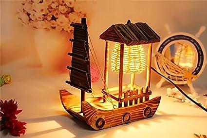 Lámpara de mesa cabaña de troncos para jardín vela artesanía ...
