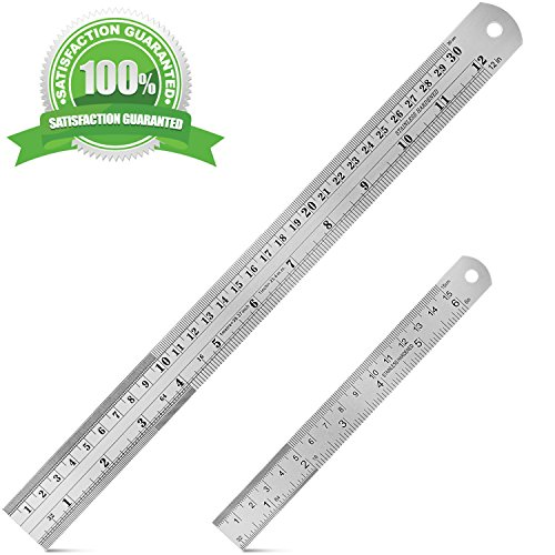 Bestty 12 Inch and 6 Inch Stainless Steel Ruler Metal Ruler Kit with Conversion Table Dual Side Metric/Imperial 1/16 1/32 1/64