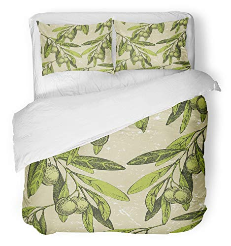Emvency 3 Piece Duvet Cover Set Breathable Brushed Microfiber Fabric Green Vegetable Olive Branches Leaf Branch Fruit Tree Oil Mediterranean Hand Bedding with 2 Pillow Covers Full/Queen (Mediterranean 3 Piece Set)
