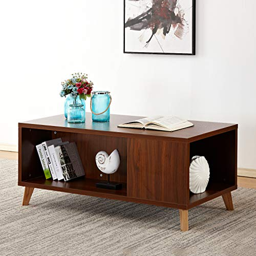 - Soges Coffee Table Console Table 47.2 x 23.6 inch Living Room Furniture, Walnut HHCT003-WN