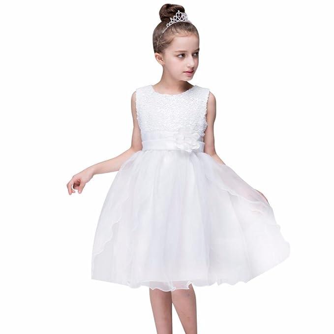 Lenfesh Vestidos de Princesa Fiestas Boda Lentejuelas Vestidos Elegantes de Noche para Niña con Flores Ropa