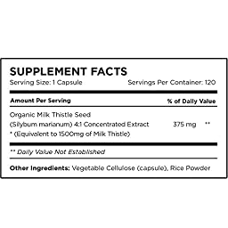 USDA Certified Organic Milk Thistle Capsules, 1500mg 4X Concentrated Extract is the Strongest Milk Thistle Supplement Available. Silymarin is Great for Liver Cleanse & Detox!...