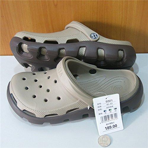 Xing Lin Sandalias De Hombre Orificio De Deportes Zapatos De Hombre Calzado De Playa Patrón Baotou Jardín Llano Zapatos Para Hombres Sandalias Hueco Antideslizante Brown