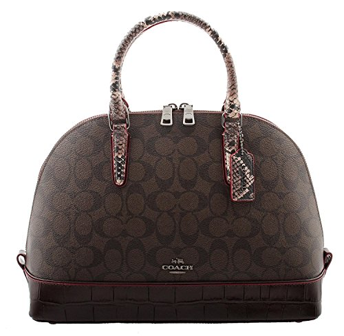 Coach Satchel Signature with Exotic Mix Trim in Brown/Oxblood, F38246 QBFDC ()