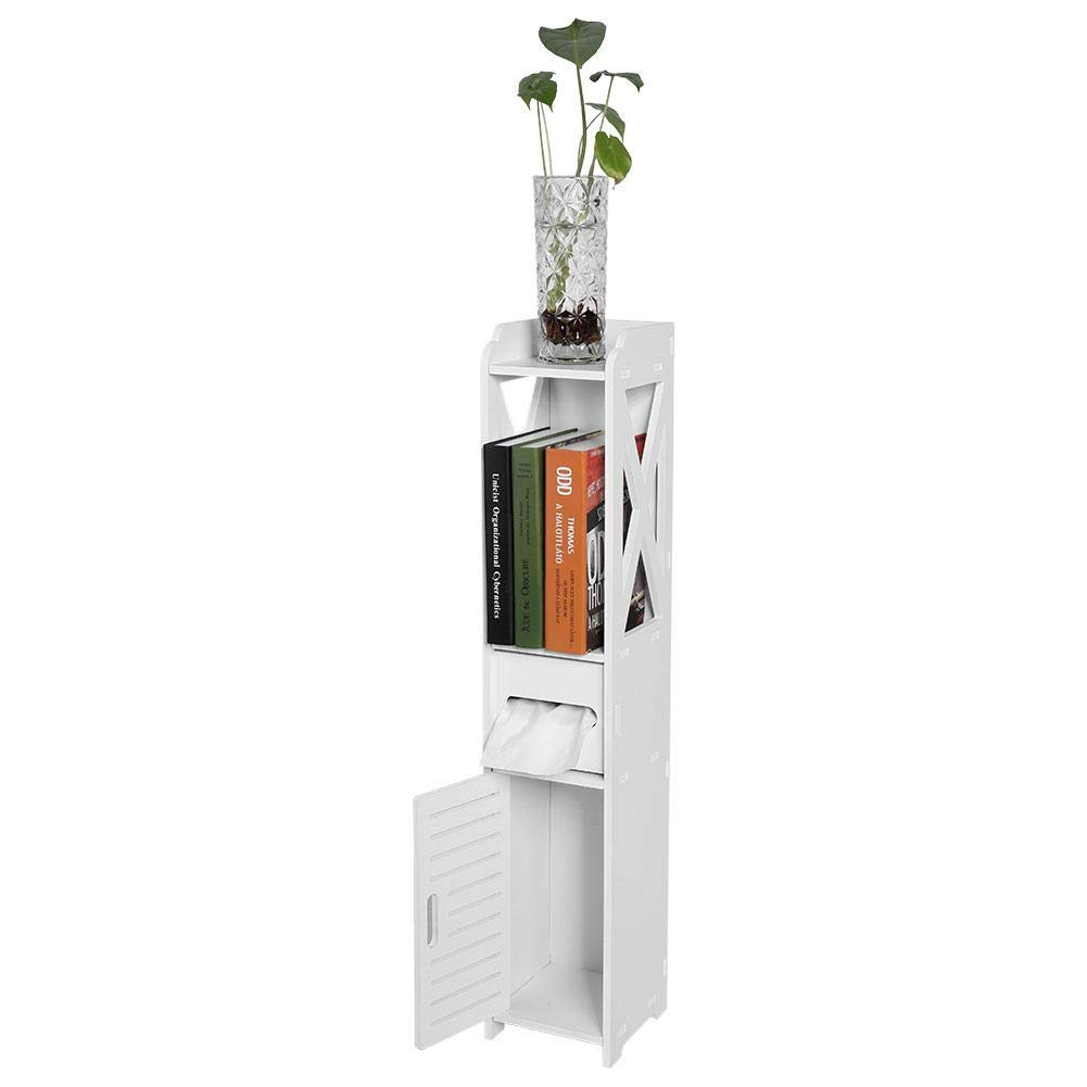 Zerodis Bathroom Free Standing Cabinet with Door and Shelf, Narrow Corner Bath Rack Chest Wood Cupboard Shelf Tissue Storage Rack, White by Zerodis
