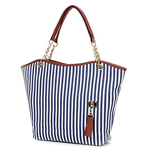 (Womens Canvas Handbag Tassel Stripes Purse Tote Fashion Shoulder Bag Large Capacity, Blue and White)